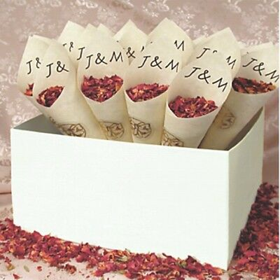 25 X Personalised Confetti Cones With Box And Free Petals Wedding Ceremony