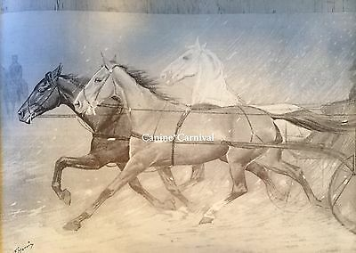 George Ford Morris ART PRINT 1952 CHICAGO GRAND BLVD SLEIGH RIDING VINTAGE HORSE