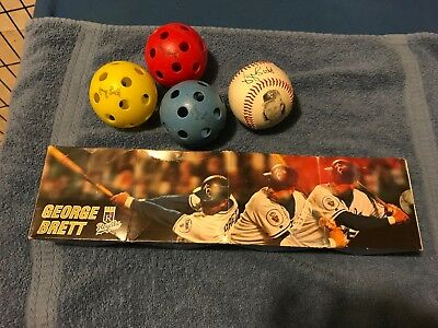 vintage lot of GEORGE BRETT items signed Wiffle Balls & baseball Royals etc