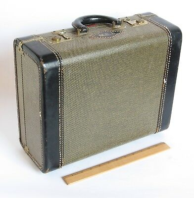 "Small VINTAGE SUITCASE Mid-Century ""Lincoln Zephyrweight"" 15"" x 12"" x 6"""