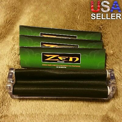 Clear Plastic King Size Cigarette Roller 110mm Rolling Machine + 3 Zen Booklets