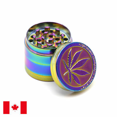 Designed Rainbow Zinc Alloy 4 Piece 50mm Tobacco Herb Grinder w/ Scraper
