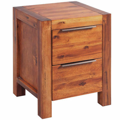 Brown Wooden Bedside Cabinet Solid Wood Side Table Nightstand Vintage 2 Drawers
