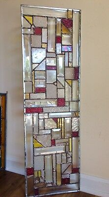 SALE !Abstract Geometrical Stained Glass Panel  Bevels Suncatcher Window OOAK