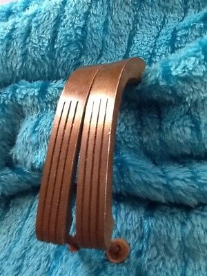 2 Antique 30's 40's Aged Brass Ribbed Deco Industrial Drawer Cabinet Pull Handle