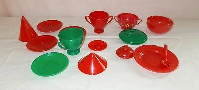 Vintage Ideal Plastic Tea Set Red Green Mixed