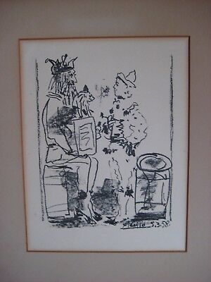 Antique Vintage Rare Pablo Picasso Mourlot Lithograph 1958 Clowns Framed Old Art