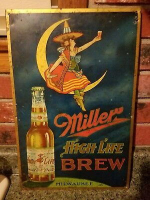 Rare Pre Proabition Tin Lithograph Miller High Life Sign