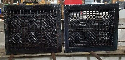 Matching Pair Old Antique Cast Iron Heat Register Floor Grate Art Deco Design