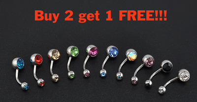 Double Gem Surgical Steel Belly Ring Button Navel Bar Body Piercing  X 11