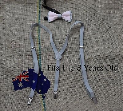 BOYS BABY KIDS Braces Suspenders 100% Cotton Grey and Pink Bow Tie 1-8 Years Old