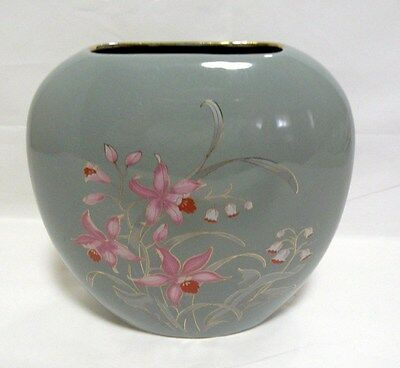 Fine China Ceramic Pocket Vase Handpainted Floral with Gold Accents Trim