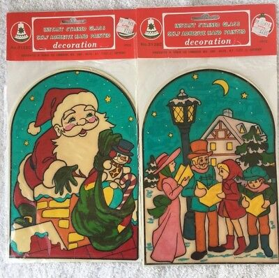 Vintage Christmas Instant Stained Glass Window Clings Santa Carolers