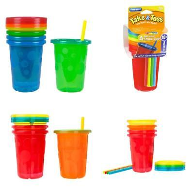 4 Pack Spill Proof Plastic Cups With Lids Straws Tumbler Sippy Baby Toddler Kids