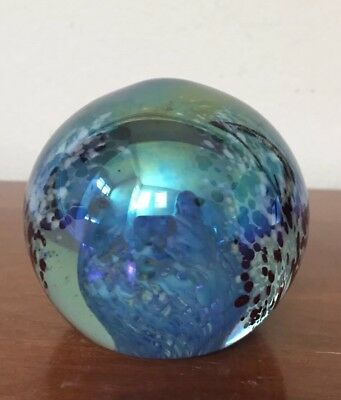 "Vintage ""The Glass Eye"" Studio Art Glass Paperweight Blue Swirl Iridescent MSH"