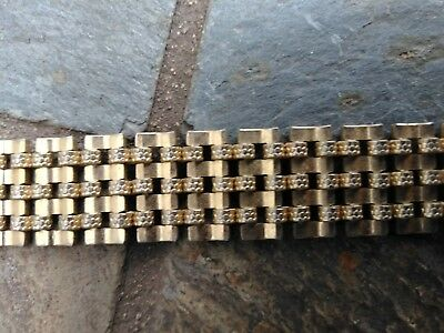 """Vintage Heavy Etched Link 18"""" Yellow Gold Tone Necklace And 8"""" Bracelet Wide"""