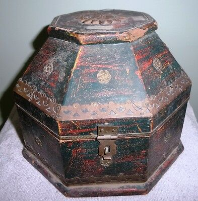 1900's Old and Vintage Wooden Eight Sided Pair of three Boxes with Brass Work