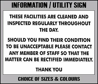 THESE FACILITIES CLEANED INSPECTED REGULARLY metal SIGN hotel pub shop toilets