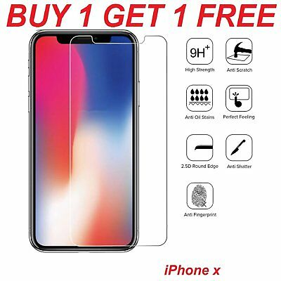 100% Genuine Tempered Glass Screen Protector Protection For Apple iPhone X - NEW