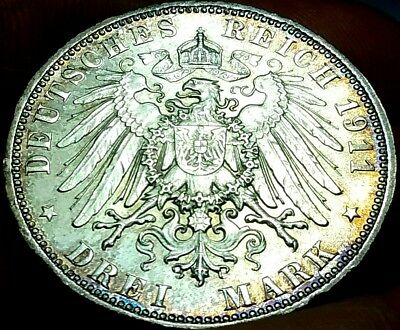 1911-D German DREI 3 Mark Coin Deutsches Reich Silver aEF frankyd360 #ch775
