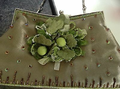 Mad Bags Satin Beaded CLUTCH/Shoulder Green Fancy Raised Floral Sheer Ribbon
