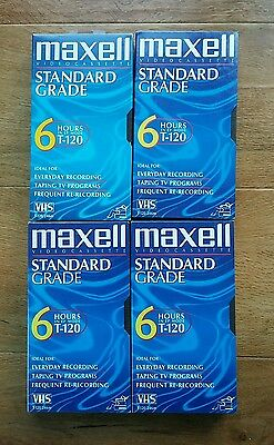 4 Maxwell Standard Grade Video Cassette. 6 hrs In EP Mode.New and Sealed