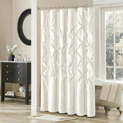 Luxury White Pleated Tufted Fabric Shower Curtain