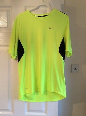 Mens Nike Yellow Fluoresant Dri-Fit Sports Teeshirt. Size M Only worn once VGC