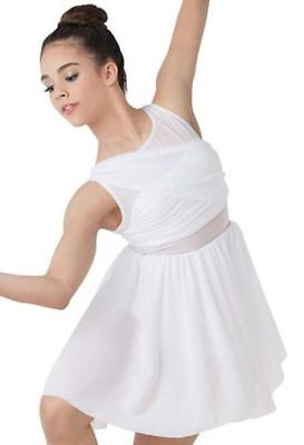 Balera Mesh Wrap Dress Style #d8423 Dance Costume, Size Large Child, White