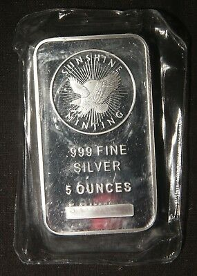 "One (1) Sunshine Minting 5 Oz 0.999 Fine Silver Bar  ""sealed""  Lot 311124"