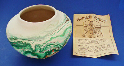 NEMADJI Art POTTERY Vintage Green Swirl Native Clay Indian VASE USA w Pamphlet