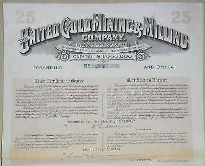 THE UNITED GOLD MINING & MILLING COMPANY 25 $ DELAWARE Stock Certificate