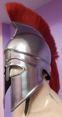 Armor Helmet with Red Plume Medieval Knight Crusader Spartan gift