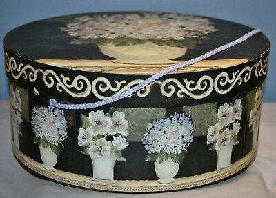 "Multi-Floral Round Hat Box 13"" Diameter"