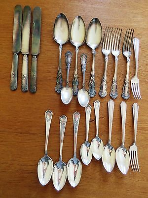 Silverplate Crafts Antique Lot 20 pc Silverware Daisy Flower Flatware Mixed