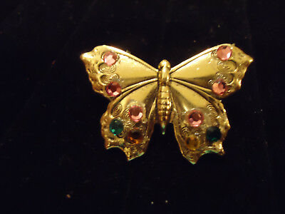 Vintage Gold tone Metal Butterfly Pin/Brooch With Multi Colored Rhinestones 1.5