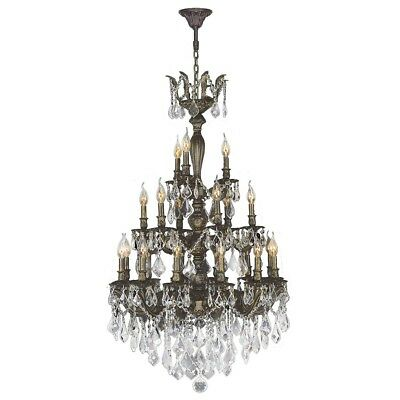 French Imperial Collection 21 Light Antique Bronze Finish and Clear Crystal Chan