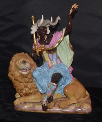 "RARE Large Meissen Figurine ""AFRICA"" -Moor Sitting on Lion - 12""H- #689- Perfect"