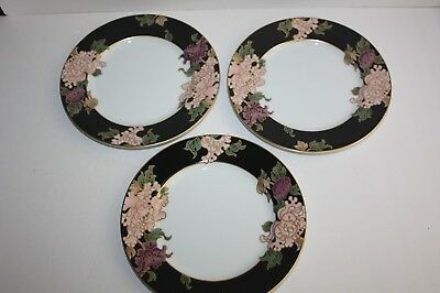 "FITZ & FLOYD Black Cloisonne Peony 7-1/2"" Salad Dessert Plates Set of 3 Japan"