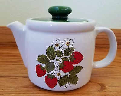 Vintage McCoy Pottery Ceramic Strawberry Flower Teapot with Lid #1418