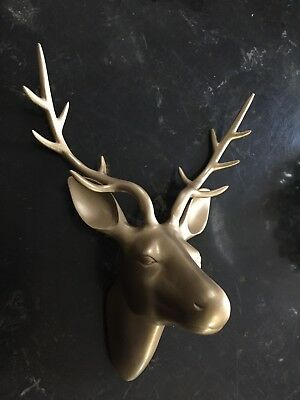 Vintage Large Brass Deer Head 3D Wall Mount in Antique Gold Finish