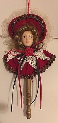 Vintage Victorian Doll Head On A Wooden Stick Unique Velvet and Lace Christmas