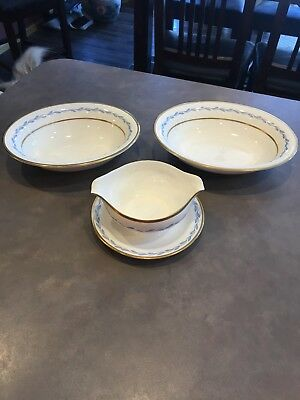 3 Piece Victory Pope Gosser China USA Warrented Coin Gold Bowl Gravy Boat