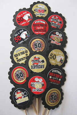 50th Birthday  Cupcake Toppers/Party Picks (15pc Set)  Item #1293 Vegas