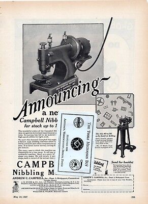 Nibbling Machine, Andrew Campbell - Globe Machine & Stamping Co 1927 advertising