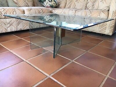 Mid Century Modern PACE style Vintage Glass Brass X Base Coffee Table