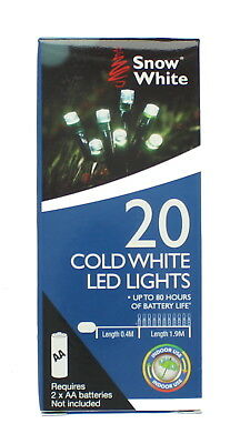 Snow White 20 Cold White Battery Powered LED Christmas String Lights 1.9m