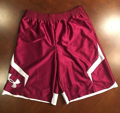 Under Armour Maroon Athletic/Basketball Shorts, Size Youth L, Loose Fit