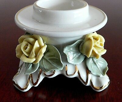 Vintage  Dresden Porcelain Candle Holder Yellow Roses.alka Germany 1950's.n.r.