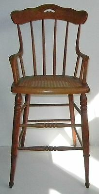 ANTIQUE Victorian JUVENILE High CHAIR Bentwood OAK Cane TURNED Sinuous ARMS